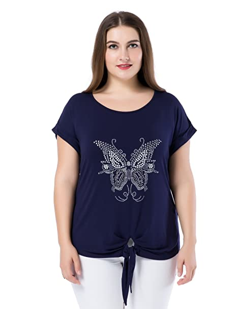 Chicwe Camisetas Tops Tallas Grandes Mujeres Diamante de imitación Dobladillo Anudado Mariposa M