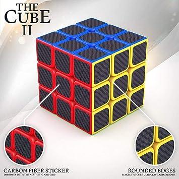 CocoRio High Speed Carbon Fiber Sticker 3x3 Colours Magic Rubik Cube Puzzle Toy with Adjustable Speed (5.5cm) (Multicolour)