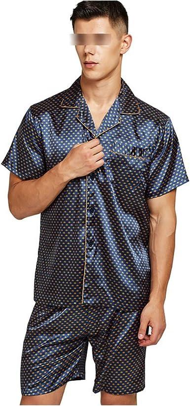 HIENAJ Mens Casual Silk Sleep Pajama Sets Short Sleeve Satin Pajama Set  with Shorts M_0512Sleepshortsets02_Blue_XL Sleep Sets Clothing