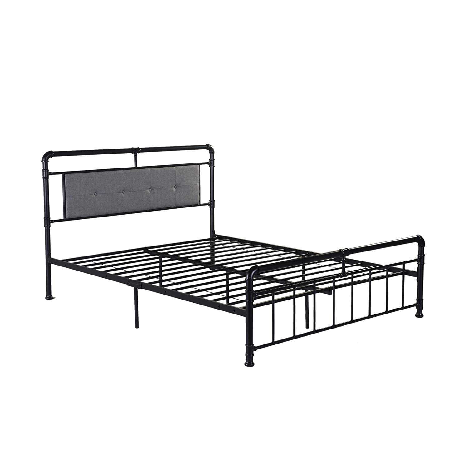 Amazon Com Truda Queen Size Iron Bed Frame Upholstered Headboard