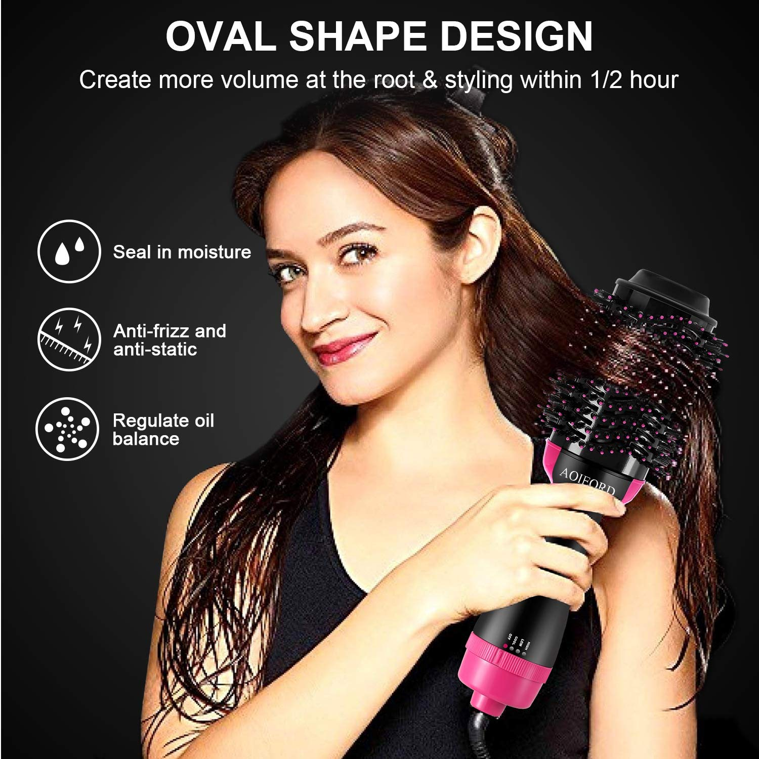 Hair Dryer Brush, AOIEORD Dry & Straighten & Curl in One Step Hair Dryer and Volumizer, Smooth Frizz with Ionic Technology by AOIEORD (Image #4)