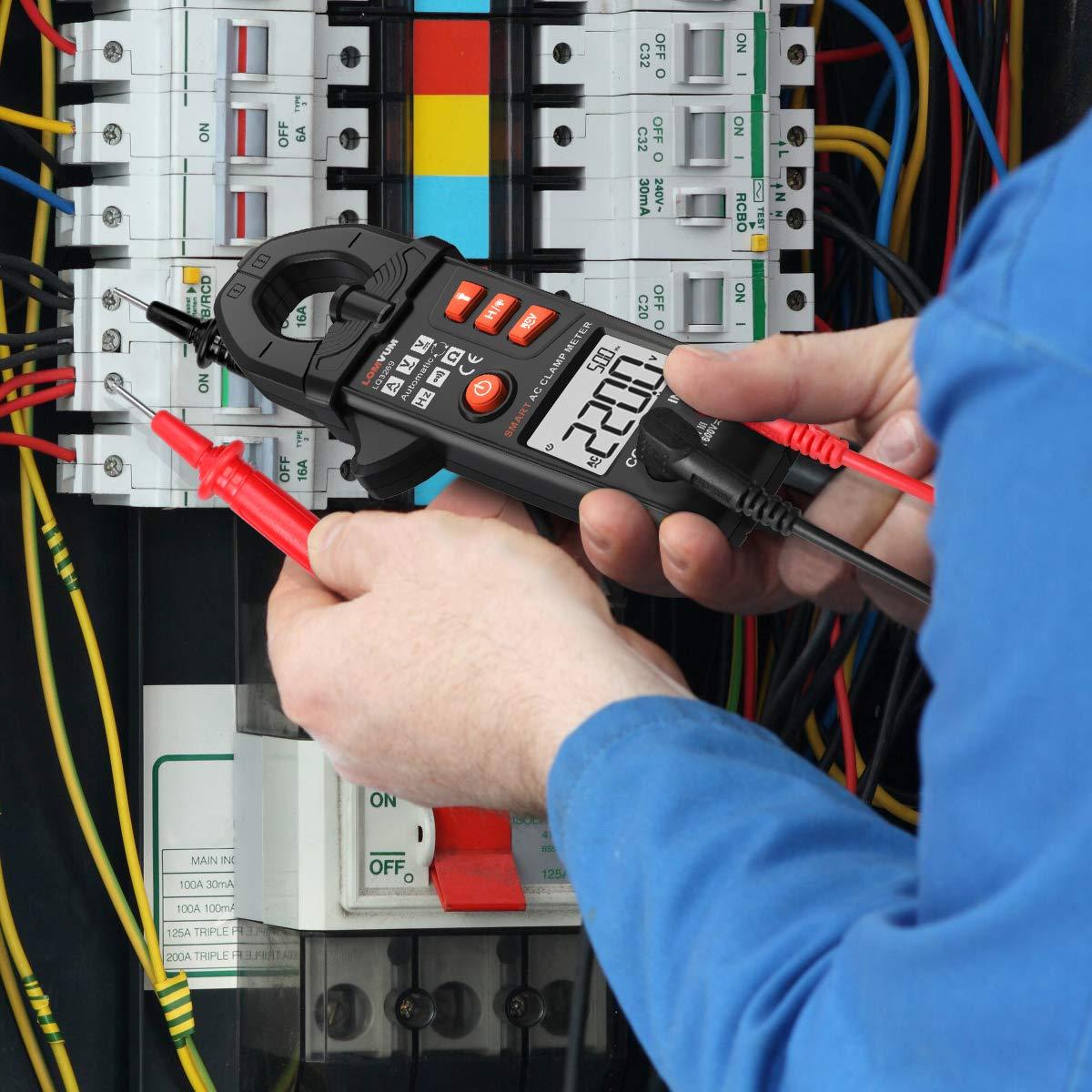 gamme automatique RMS 5999 compte pince multim/ètre Tension AC//DC Courant alternatif multi-testeurs de fr/équence avec fonction NCV r/ésistance LOMVUM Pince Amp/èrem/étrique Multim/ètre Num/érique