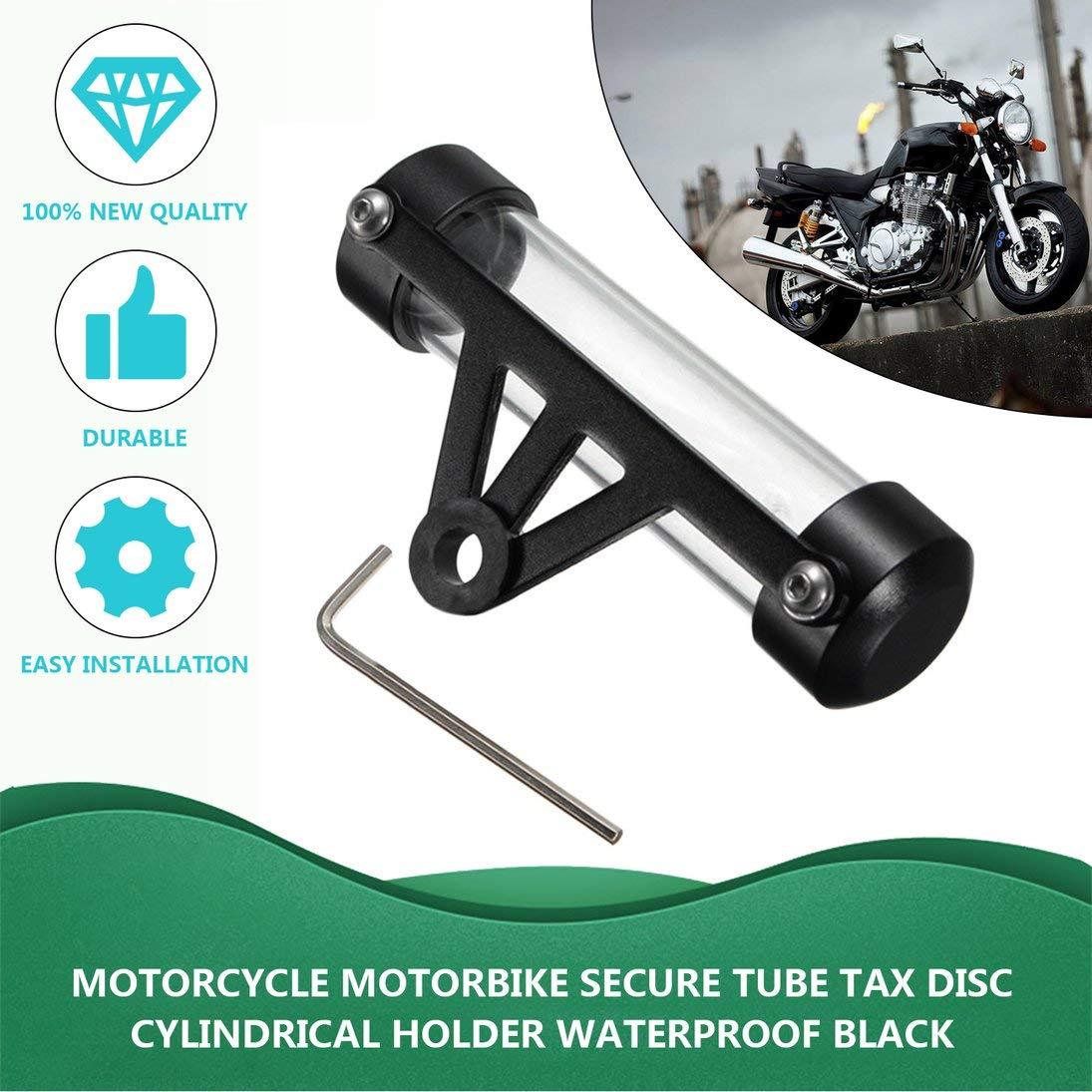 Nouveau Noir /Étanche Moto Moto Tube Tax Disc Disque Titulaire Titulaire Cadre Real Moto Accessoires Livraison Gratuite