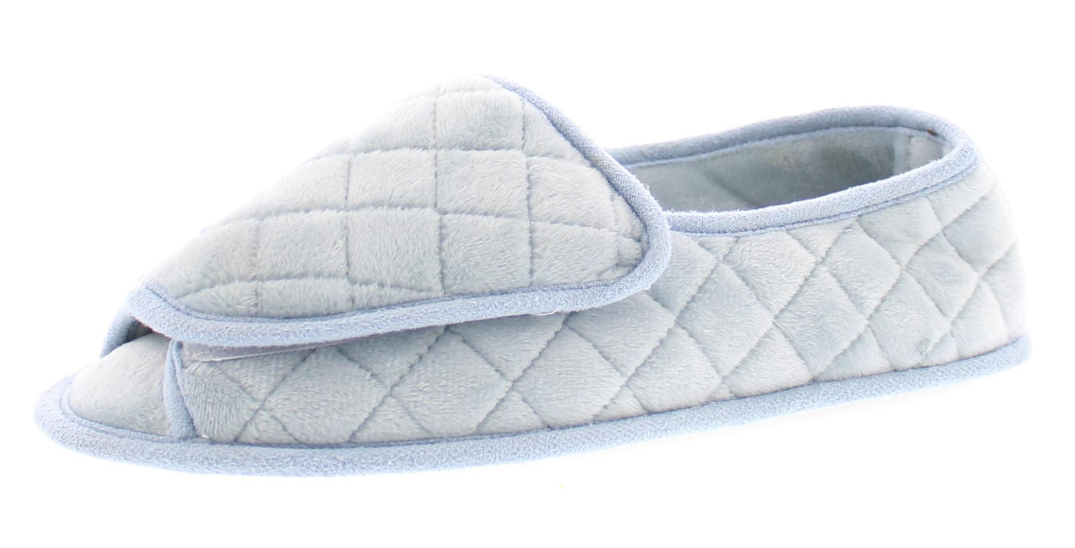 Coralee Womens Adjustable Slipper Edema,Memory Foam Orthopedic Slippers Women,Open Toe House Shoes Light Blue M 8 US