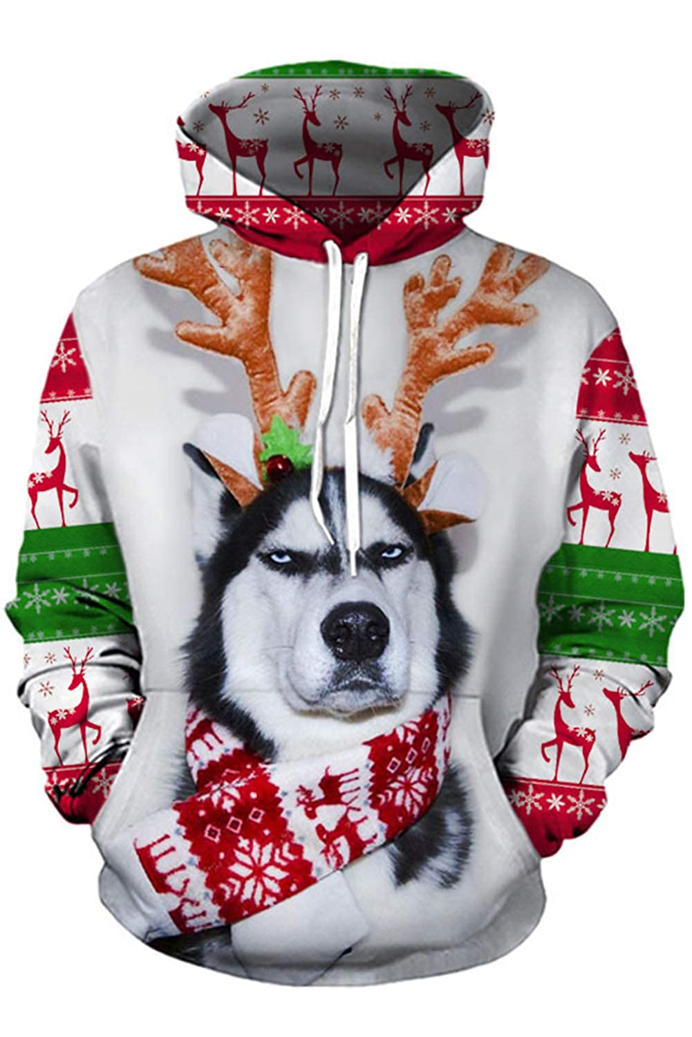 Dark Paradise Christmas Unisex Husky 3D Printed Hoodie Dog Print Xmas Pullover Casual Hooded Sweater