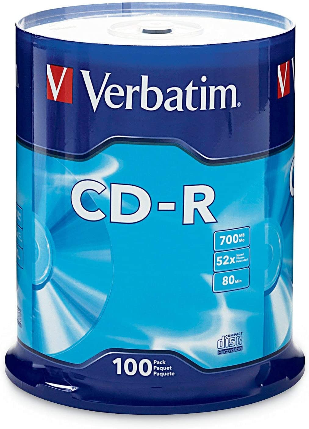 Verbatim CD-R 700MB 80 Minute 52x Recordable Disc for Data and Music - 100 Pack Spindle, Silver