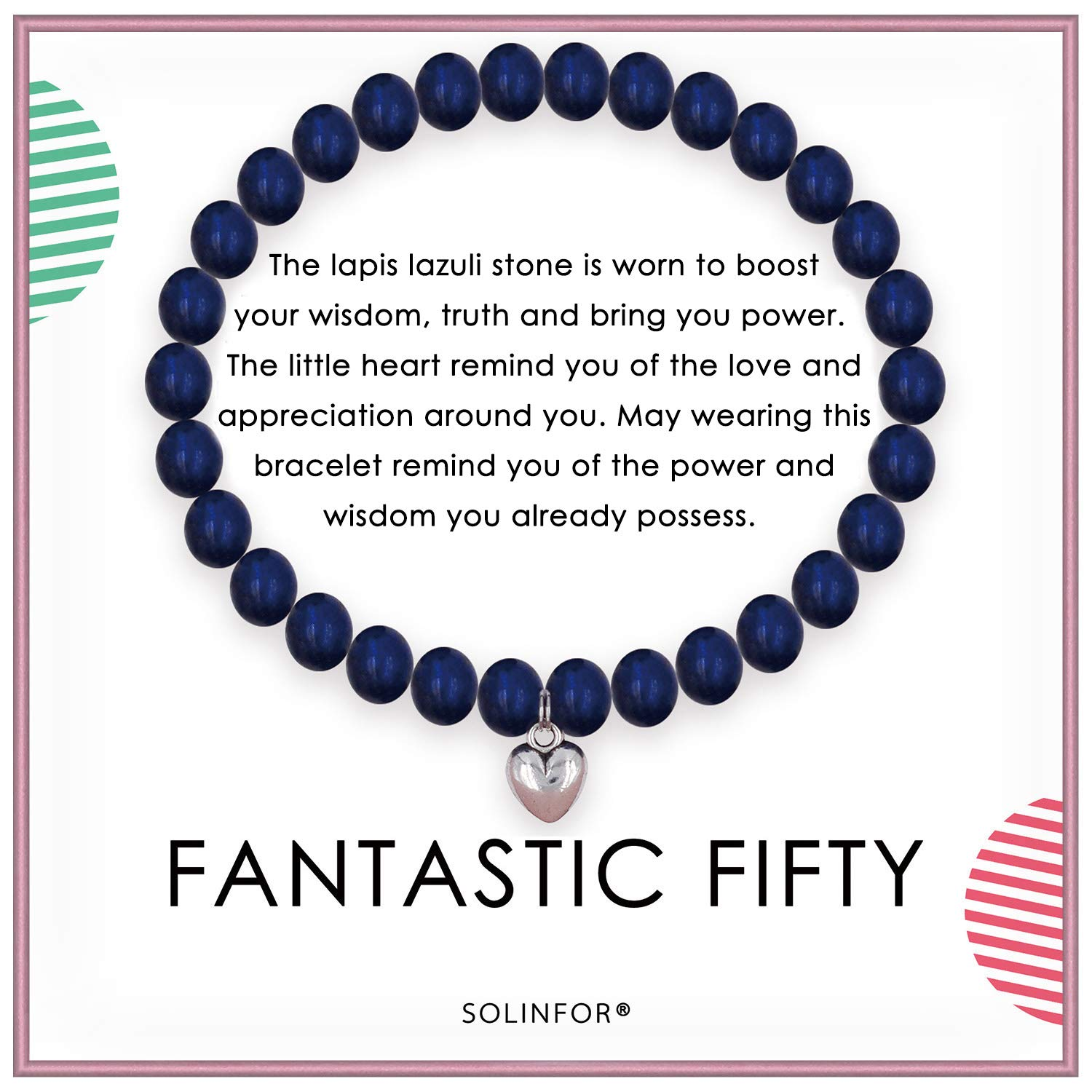 SOLINFOR 50th Birthday Gifts for Women - Lapis Lazuli Beads Bracelet - 50 Years Old Jewelry Gift Idea for Her by SOLINFOR