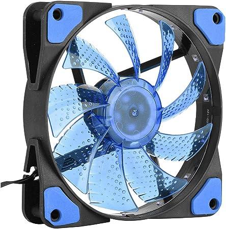 Topiky Caja de CPU de PC de 120 mm 3 Pines / 4 Pines Ventilador de refrigeración Ultra silencioso con USB y LED para Oficina(Azul): Amazon.es: Electrónica