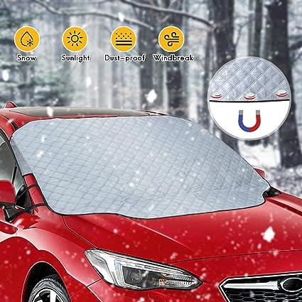 Protector para Parabrisas Lluvia UV rabbitgoo Protector de Parabrisas Nieve Sol Magn/ético Funda Plegable Parabrisa para Coche Protege de Rayos Antihielo Nieve Universal 145x114CM