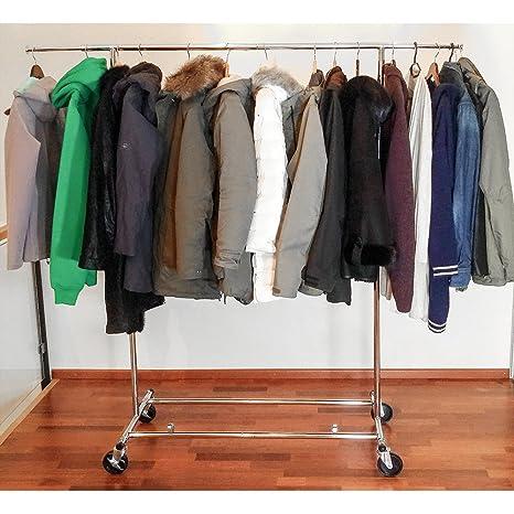 Tatkraft Drogo Heavy Duty Clothes Rack on Wheels, 220lb Load, Adjustable Garment Rack Length 4-6ft, Height 4,7-5,5ft, Easy to Assemble, Chromed Steel