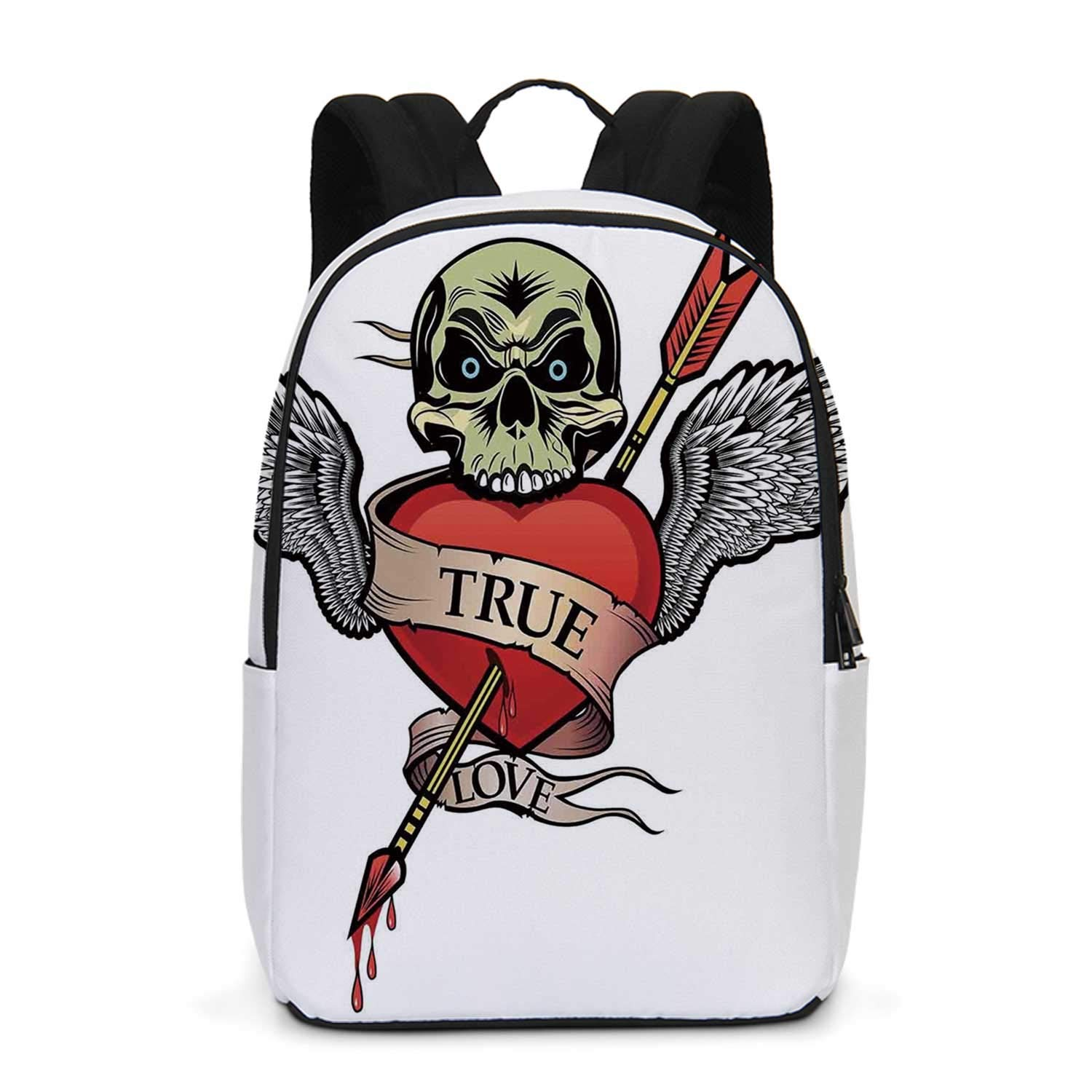 Tattoo Decor Durable Backpack,Skull with Diamond Eyes and Floral Vine Art Tattoo Renaissance Inspired for School Travel,One_Size