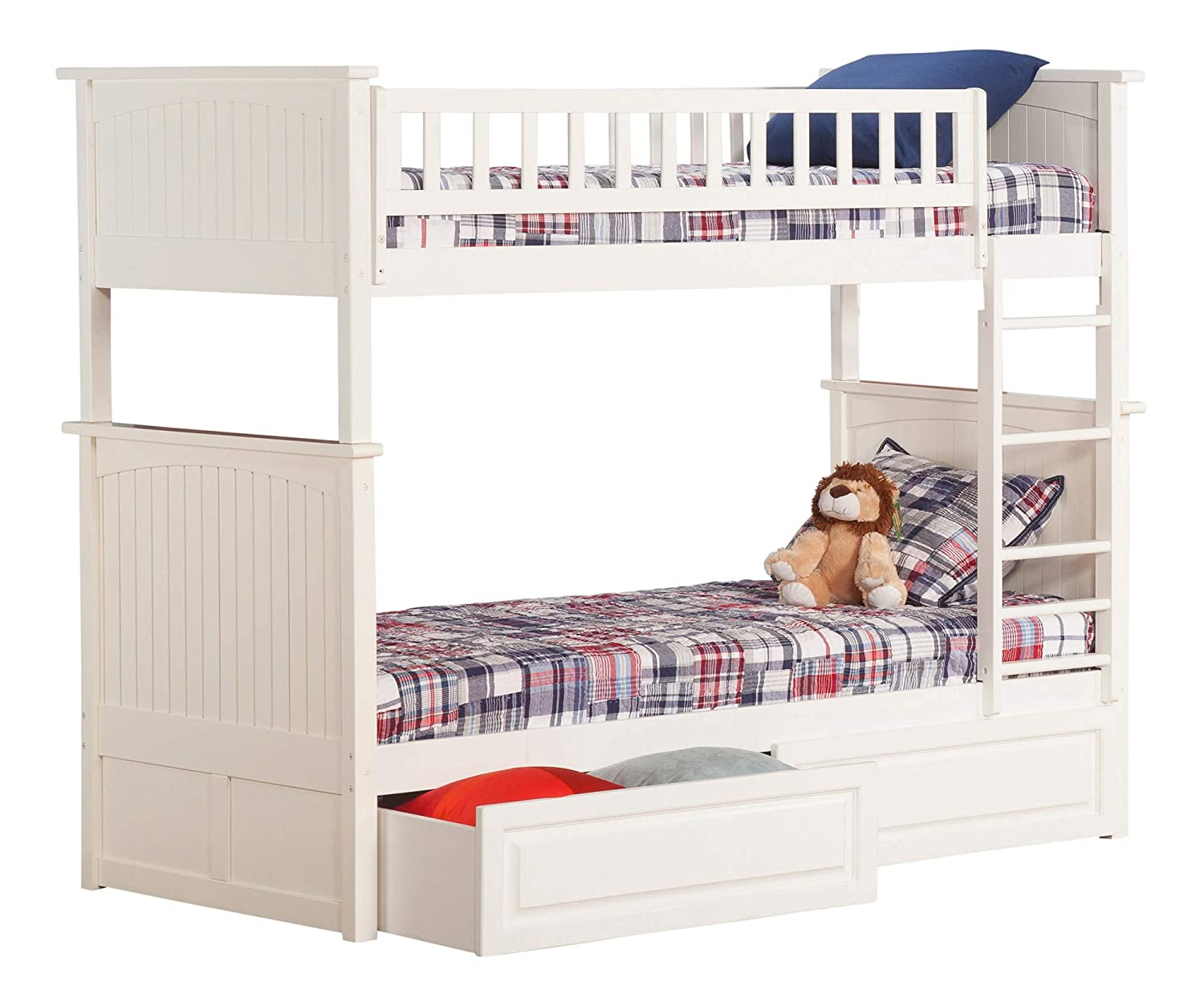 Atlantic Furniture Nantucket Bunk Bed with 2 Raised Panel Bed Drawers, Twin Twin, White