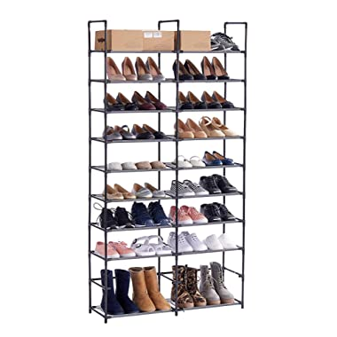Shoe Rack Shoe Organizer 50 Pair Shoe Racks, ORAF Shoe Tower with Waterproof Dustproof, Tight Connection 10 Tiers Shoe Shelf, Non-woven Fabric, Black