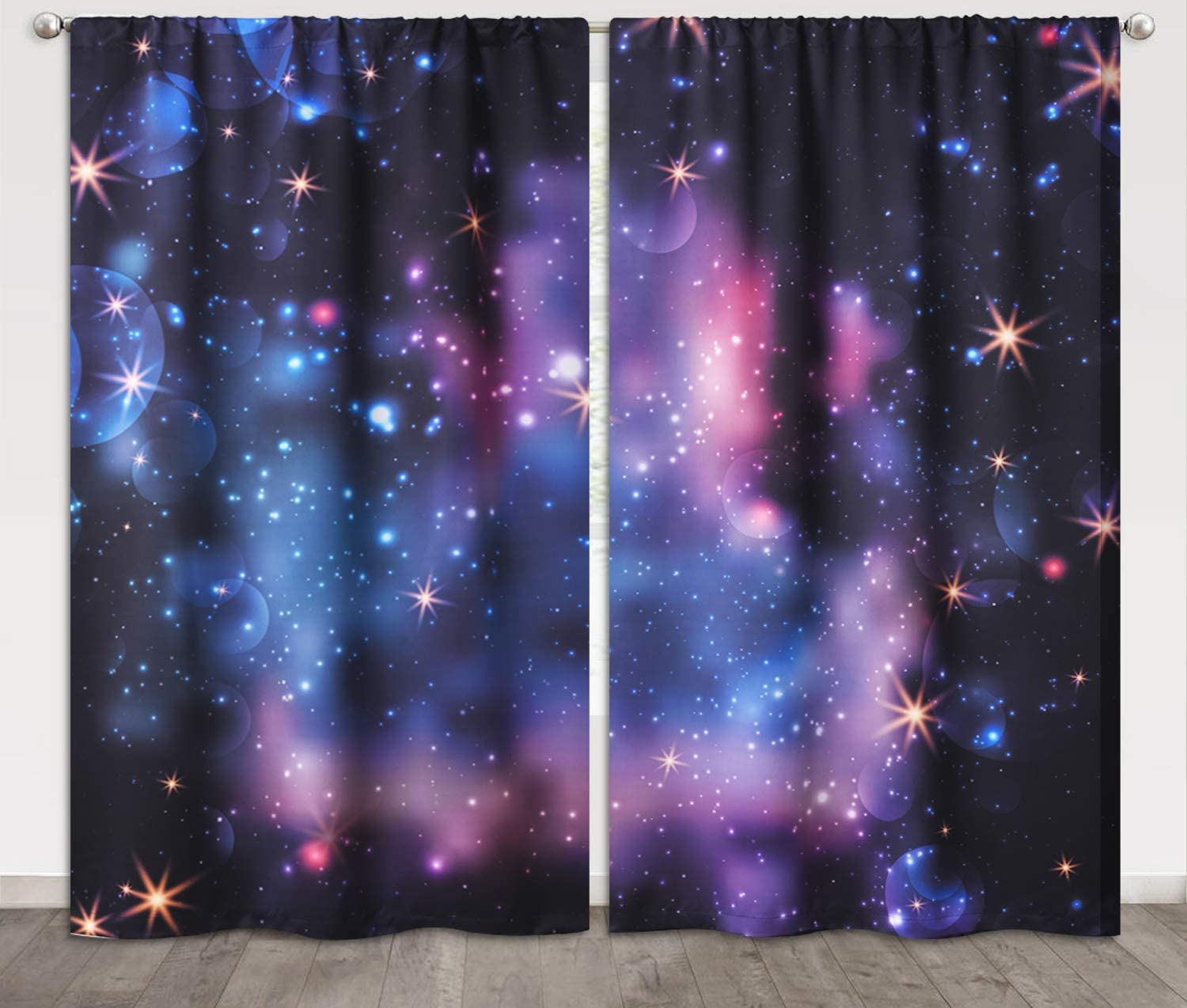 Amazon Com Kgorge Kids Curtains Room Darkening Galaxy Stars Universe Milky Way Print Curtains Thermal Insulated Privacy Panels For Kitchen Bedroom Office Room Divider Window Decor 52 X 84 Inches 1 Pair