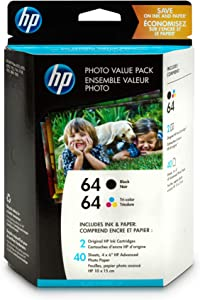 HP 64 | 2 Ink Cartridges with 4x6 Photo Paper | Black, Tri-color | N9J90AN, N9J89AN