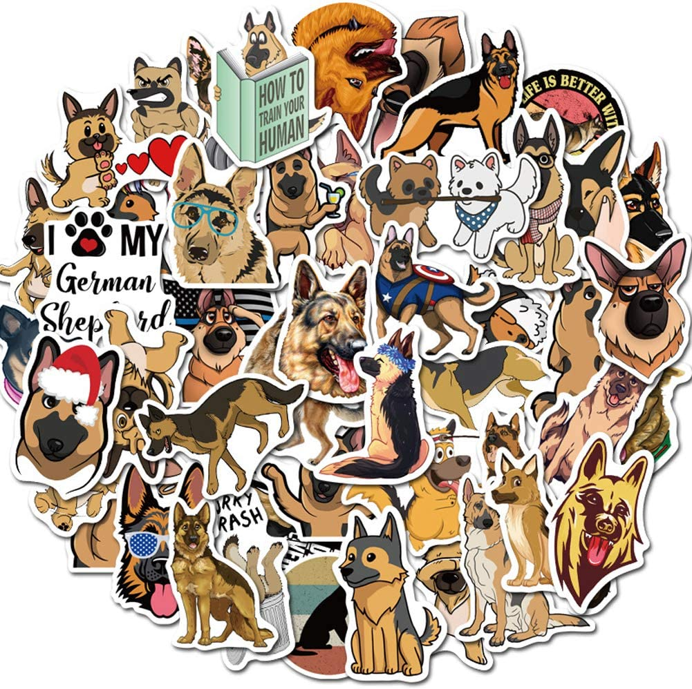 German Shepherd Stickers for Water Bottles,50 Pack Waterproof,Aesthetic,Trendy Laptop Stickers,Perfect for Waterbottle,Laptop,Phone,Travel Extra Durable Viny