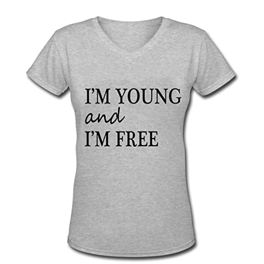 I M YOUNG AND I M FREE Girly V-Neck Tee Shirt Design Grey at Amazon Women s  Clothing store  bdd1538ab4