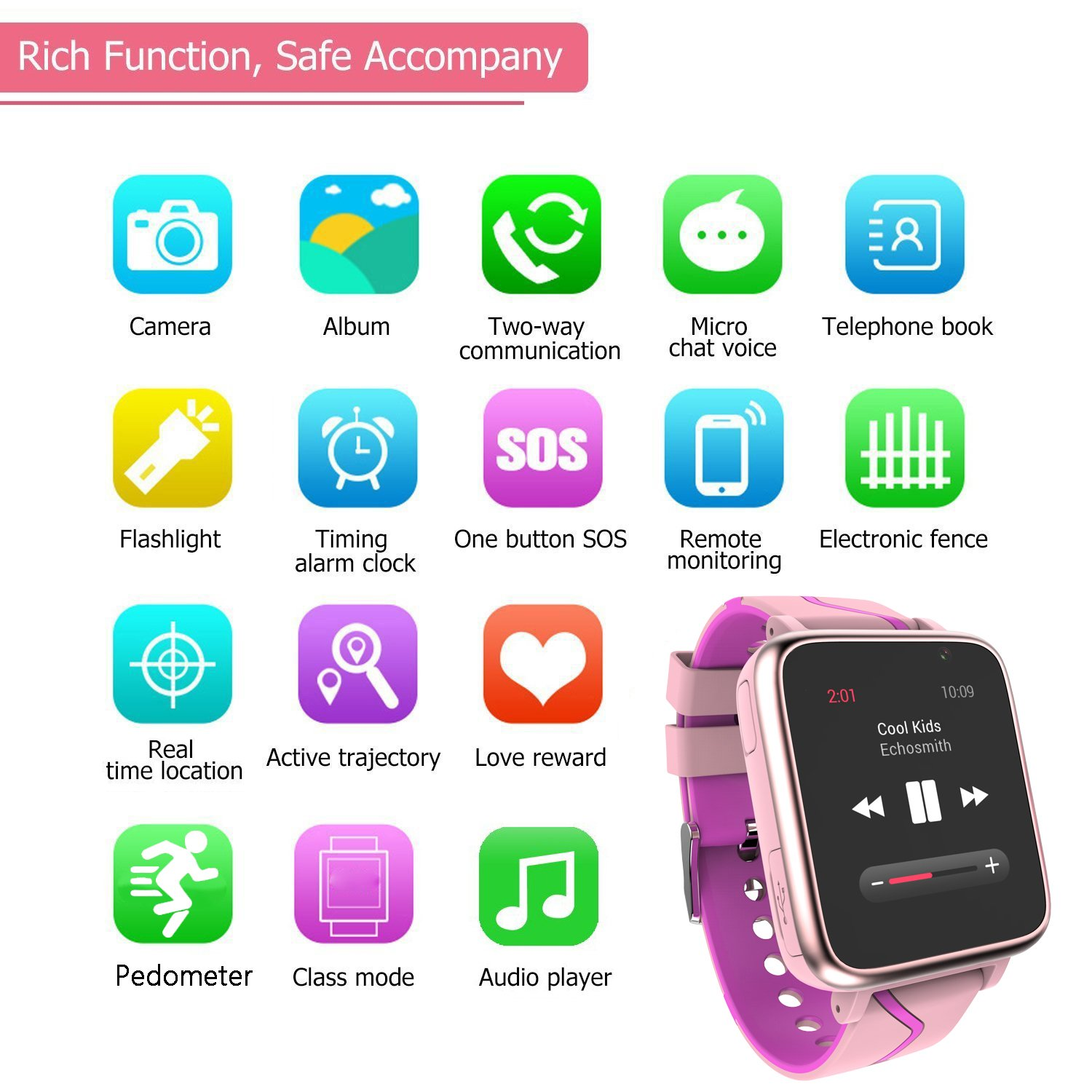 Jesam Kids Music Player Smart Watch - Smart Watch with Mp3 FM Player Watch [with 1GB Micro SD Card] and Camera Flashlight SIM Slot Phone Call Voice Chat for Students Age 4-12 (Pink&Rose) by Jesam (Image #3)
