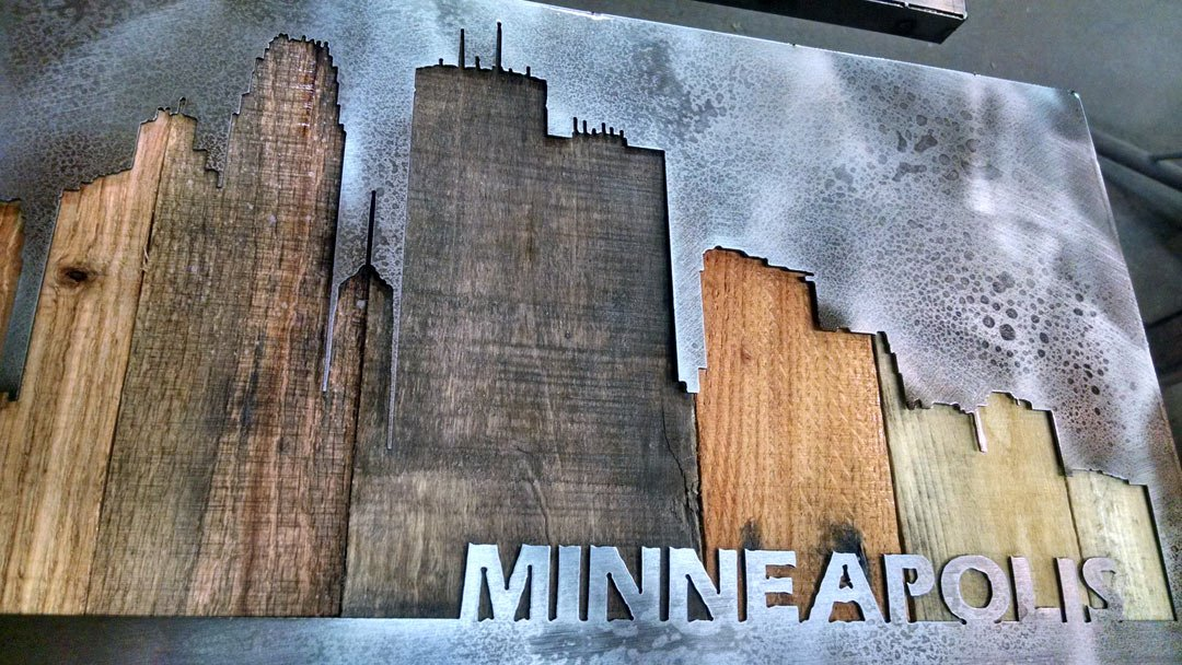 Minneapolis Cityscape - Minnesota Art - 14''x45'' - or CUSTOMIZE IT - Metal Art - Reclaimed Wood and Aged Steel - by Legendary Fine Art