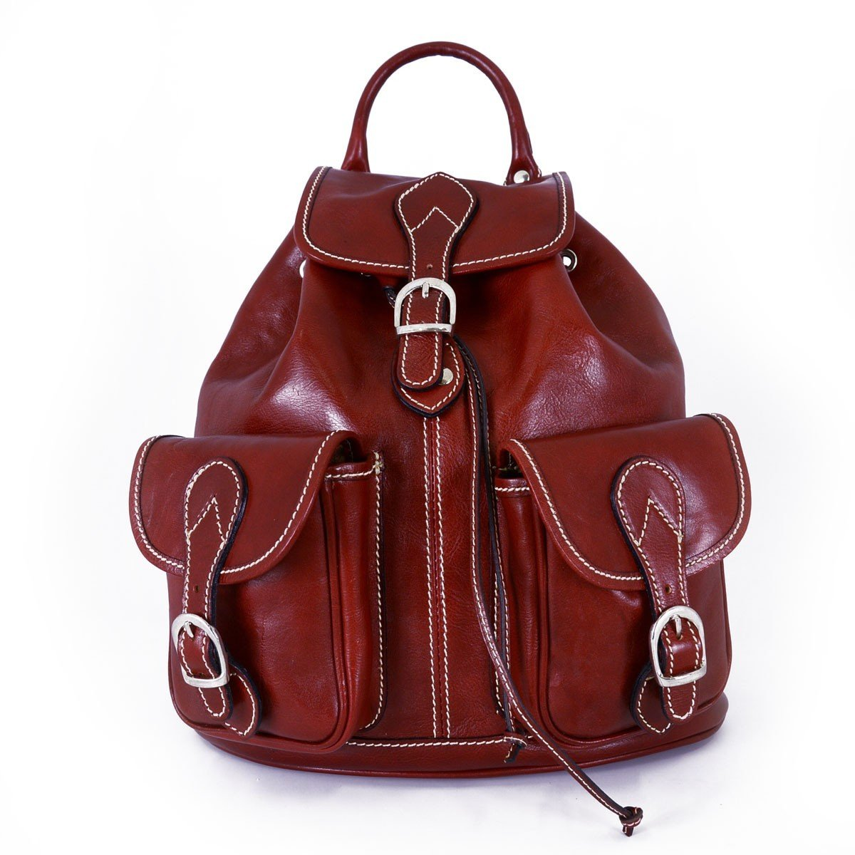 Made In Italy Leather Backpack Color Red - Backpack B01CKX1FNA
