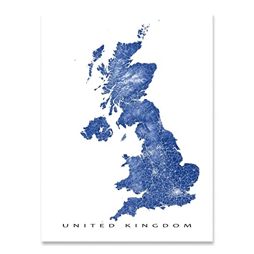 Map Of Uk Scotland And Ireland.Amazon Com United Kingdom Map Art Print Uk Northern Ireland