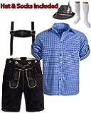 Black Blue Shirt Lederhosen Oktoberfest Mens Costume