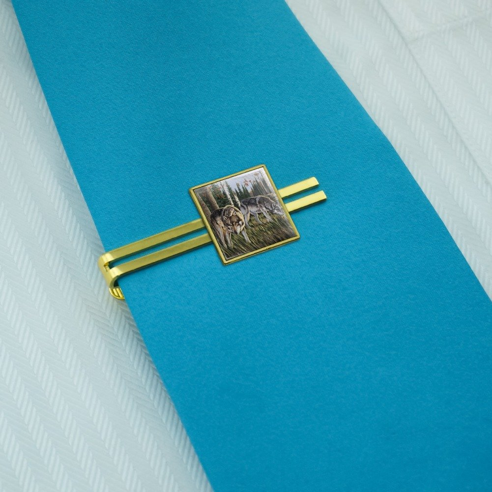 Graphics and More Wolves on the Prowl Square Tie Bar Clip Clasp Tack Gold Color