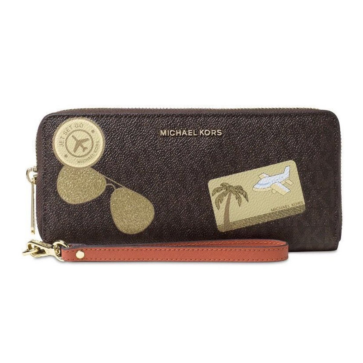 Michael Kors Fly Away Travel Continental Wallet (Brown/Orange)