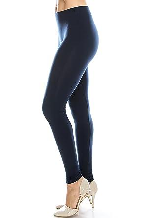 c5792d940de8c4 Nylon Spandex Basic Sexy Yoga Tight Knit leggings for women high waisted  Navy M
