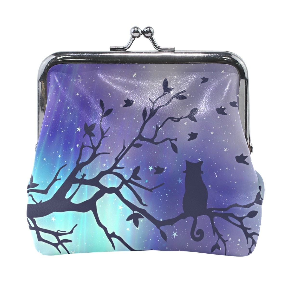 Coin Purse Cat Tree Night Sky Wallet Buckle Clutch Handbag For Women Girls Gift