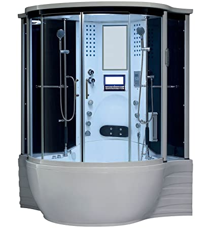 Beautiful Florence Steam Shower Sauna With Jetted Jacuzzi Whirlpool Massage (White)