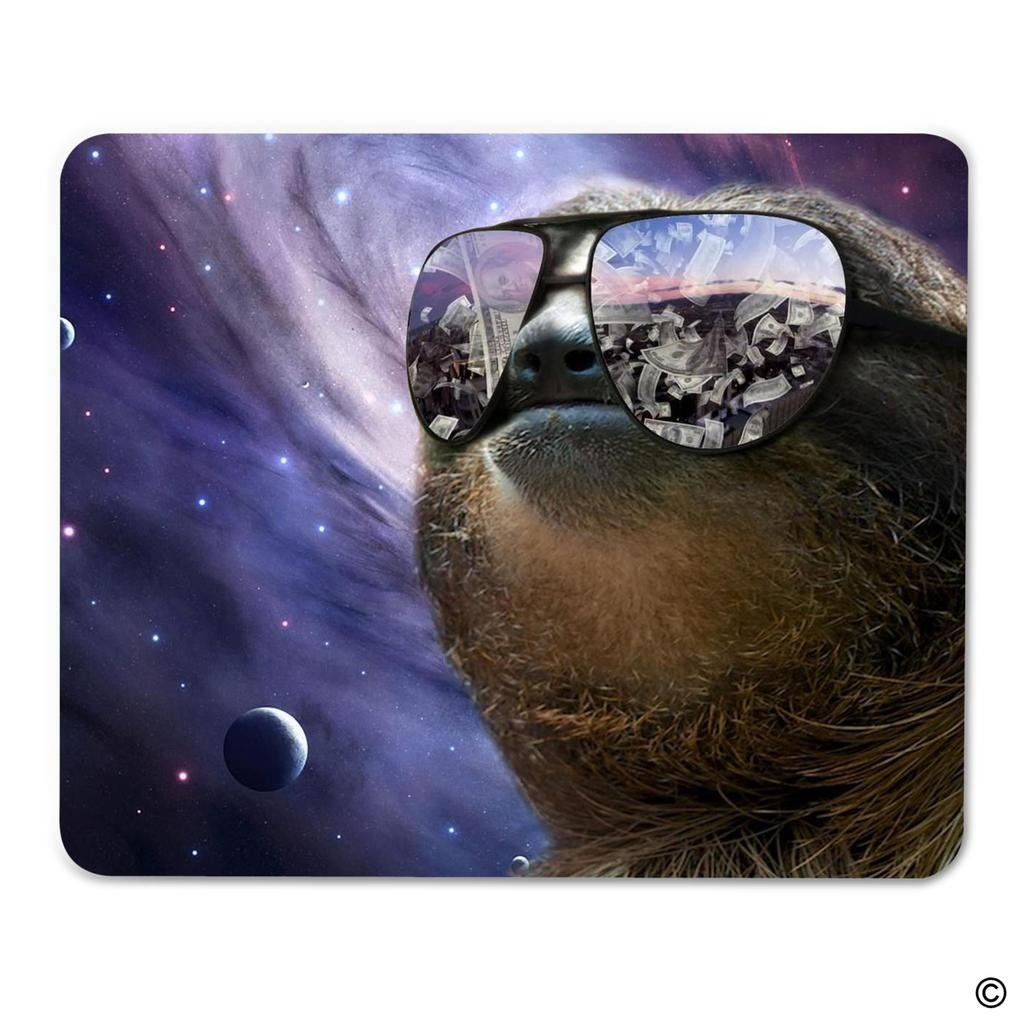 """MsMr Mouse Pad Funny Mousepad Galaxy Sloth Money Gaming Mat Portable Cloth Top Rubber Mouse Pad Non-slip 8""""x9.1"""" 30%OFF"""