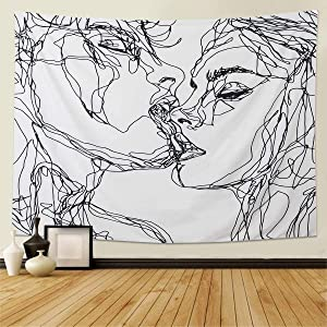 "Tapestry Wall Hanging- Abstract Sketch Art Kiss Lovers Tapestry Wall Decor for Dorm Decor for Living Room Bedroom Dorm (51""L x 60""W)"