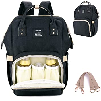 c130bde600 Amazon.com   Baby Diaper Bag Backpack Waterproof Multi-Function Nappy Bags  with Stroller Hooks for Travel Rucksack Bag for Mommy Daddy Lightweight  Large ...