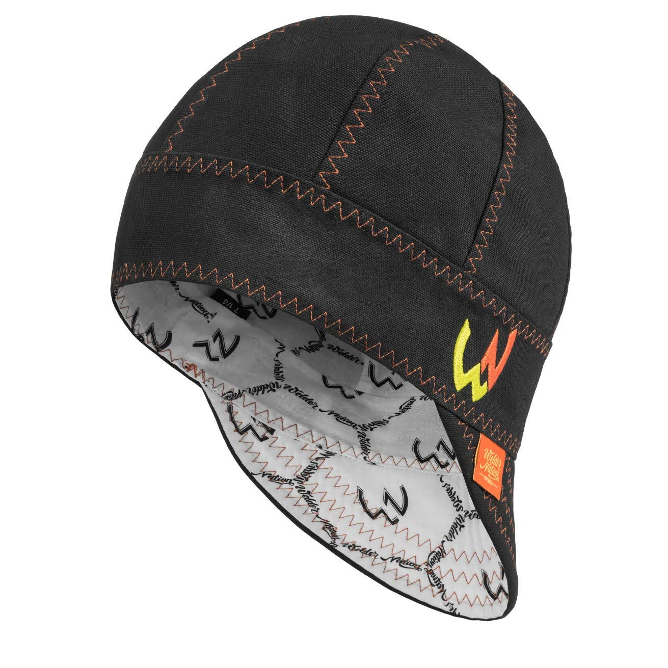 8 panel Welding Cap durable 7 1//8, Black, Orange for safety and protection while welding STICK ARC Welder Nation soft 10 oz cotton duck canvas