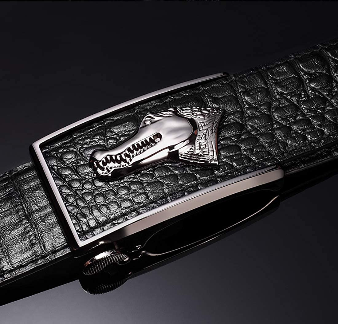 Mens real leather automatic belt crocodile alloy buckle business belt