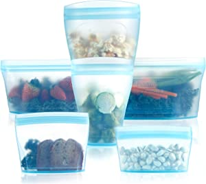 Reusable food container silicone bag, Full Set 6, 2Cups, 2Dishes, 2Bags Zip Containers Storage, 100% Silicone Reusable Food Bag, Stand Up Preservation Bag, Rounded interior for easy cleaning.