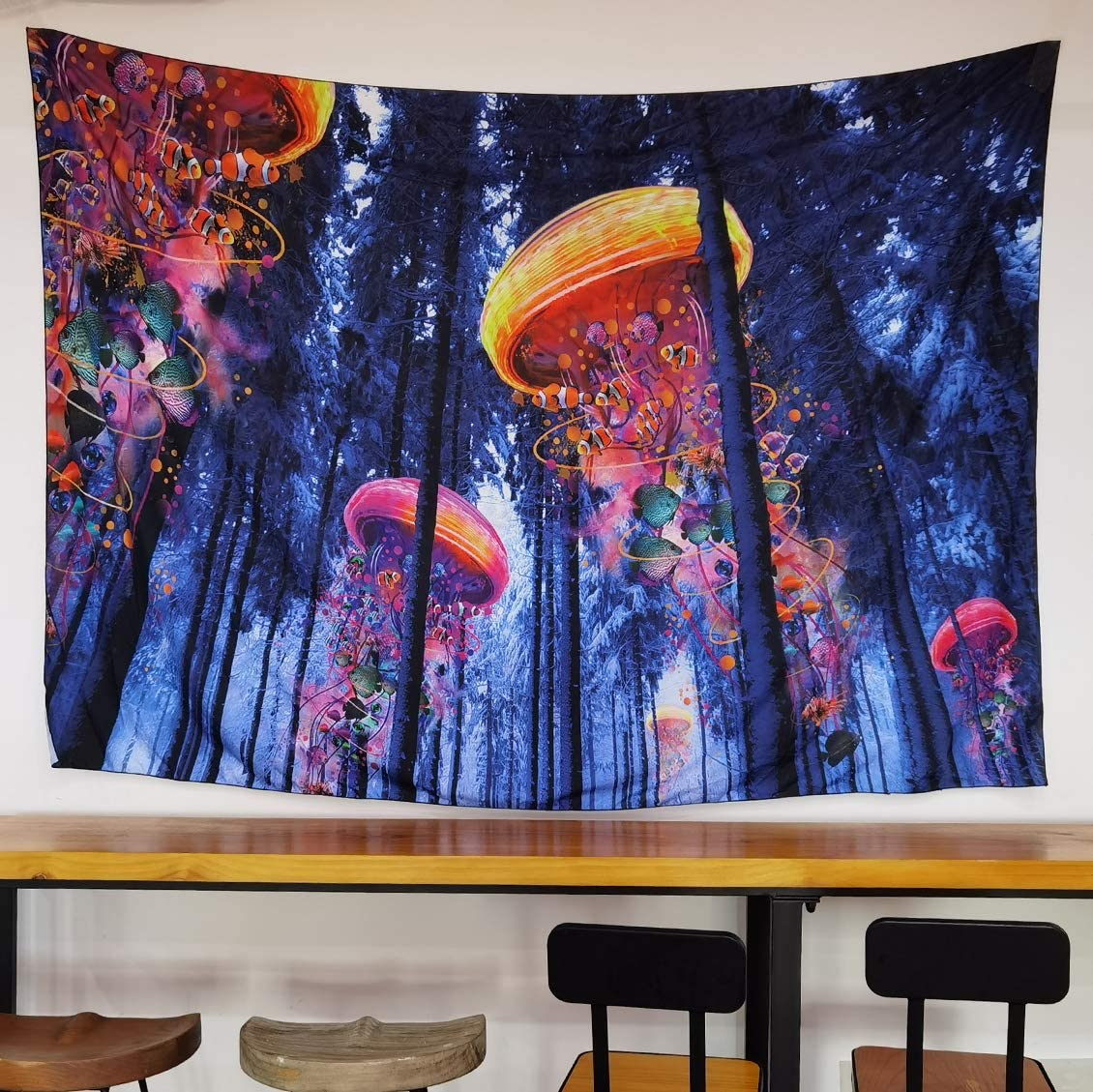 NovForth Psychedelic Art Tapestry for Wall Hanging, Wall Fabric for Bedroom, Wall Blankets for Bedroom Trippy, Hippie Tapestry for Living Room, Forest Cloth Wall Hanging