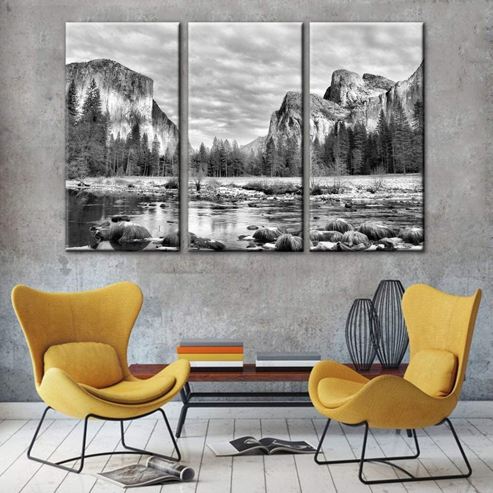 Black and White Bedroom Wall Decor Yosemite Pictures California Paintings on Canvas 3 Panel Art Nature Scenic Artwork Home Decor for Living Room Framed Ready to Hang Posters and Prints(40''x60'')
