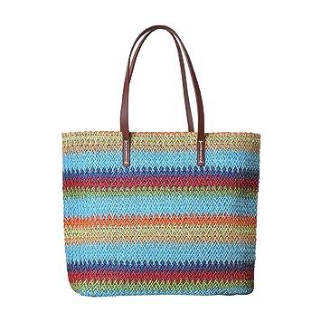 Fansi Mode Bunte Streifen Umhängetasche Stroh Handtasche