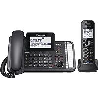 Panasonic Teléfono inalámbrico de 2 líneas con 3 vías de Conferencia, Bloqueo de Llamadas y contestador de Llamadas, 1 Auricular inalámbrico, Negro, One Handset