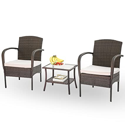 Stupendous Hq 3 Pc Rattan Patio Furniture Set Garden Lawn Wicker Patio Furniture Cushioned Seat Wicker Chairs And Table Brown Home Interior And Landscaping Ponolsignezvosmurscom