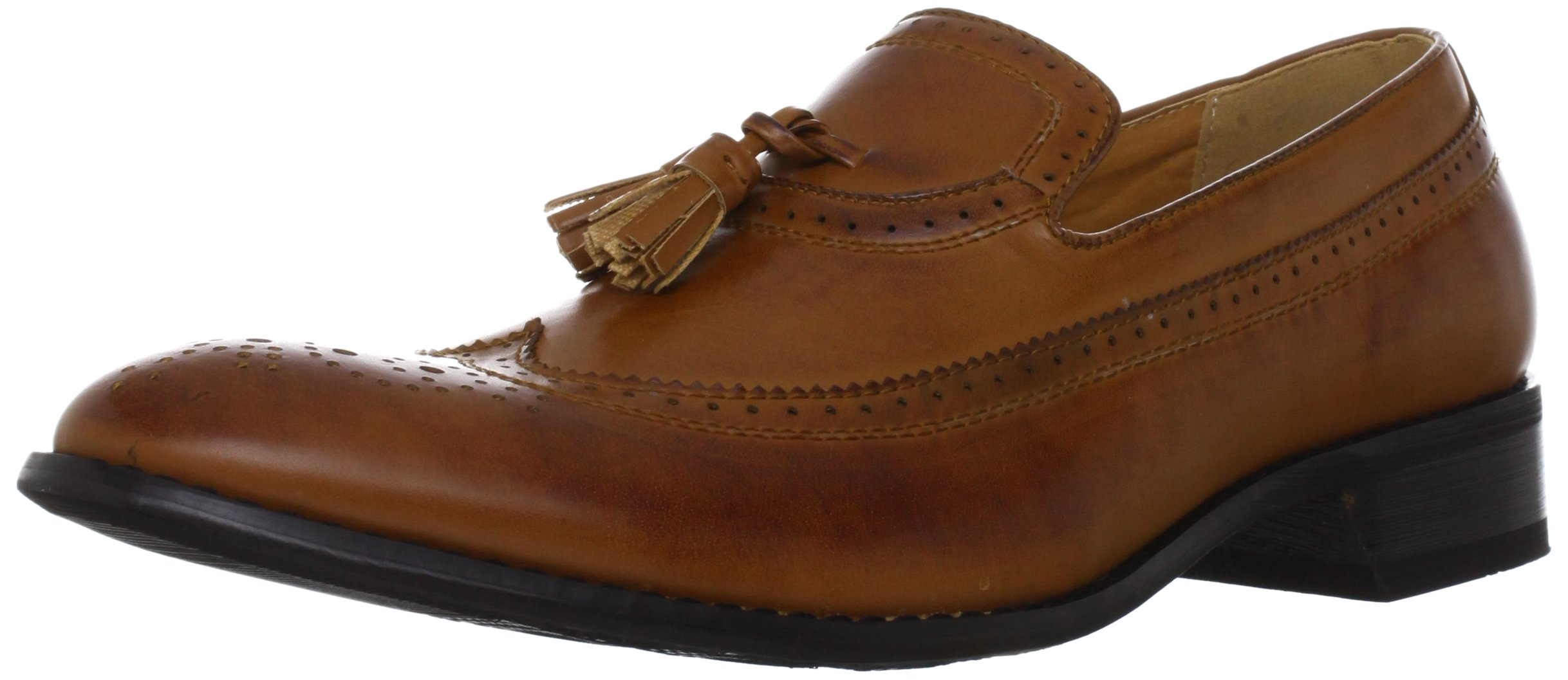 MM/ONE Men's Slip-on Wing-tip Medallion Round Toe Casual Tassel Lofoar, Brown, 44 EU (US Men's 10.5 M)