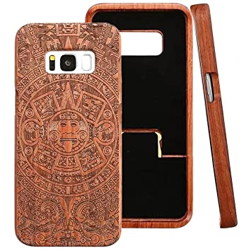 ce6e5e2a497 Galaxy S8 Funda de Madera, ZXK CO Fundas Protectiva Carcasa de Madera Duro  Case con Patrón de Tótem para Samsung Galaxy S8 Madera Carcasa Case Cover:  ...