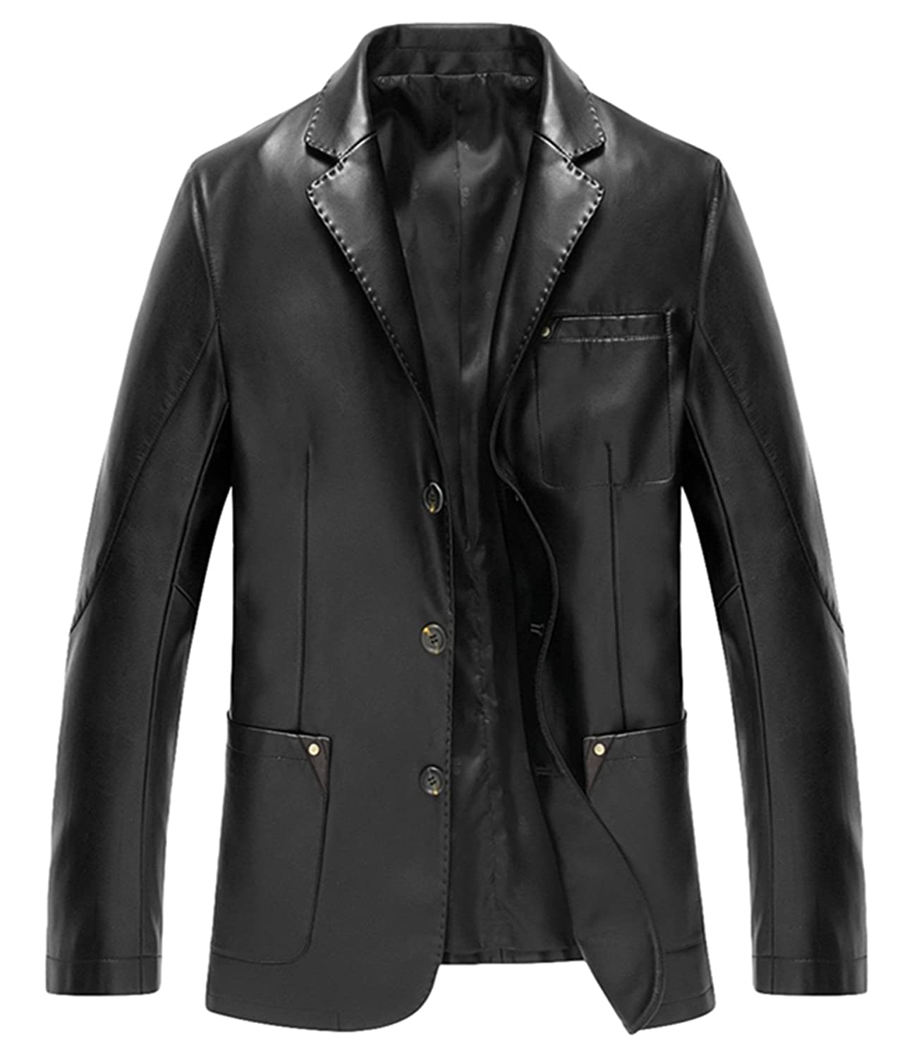 Men's leather Korean version business leather suit collar leather jacket