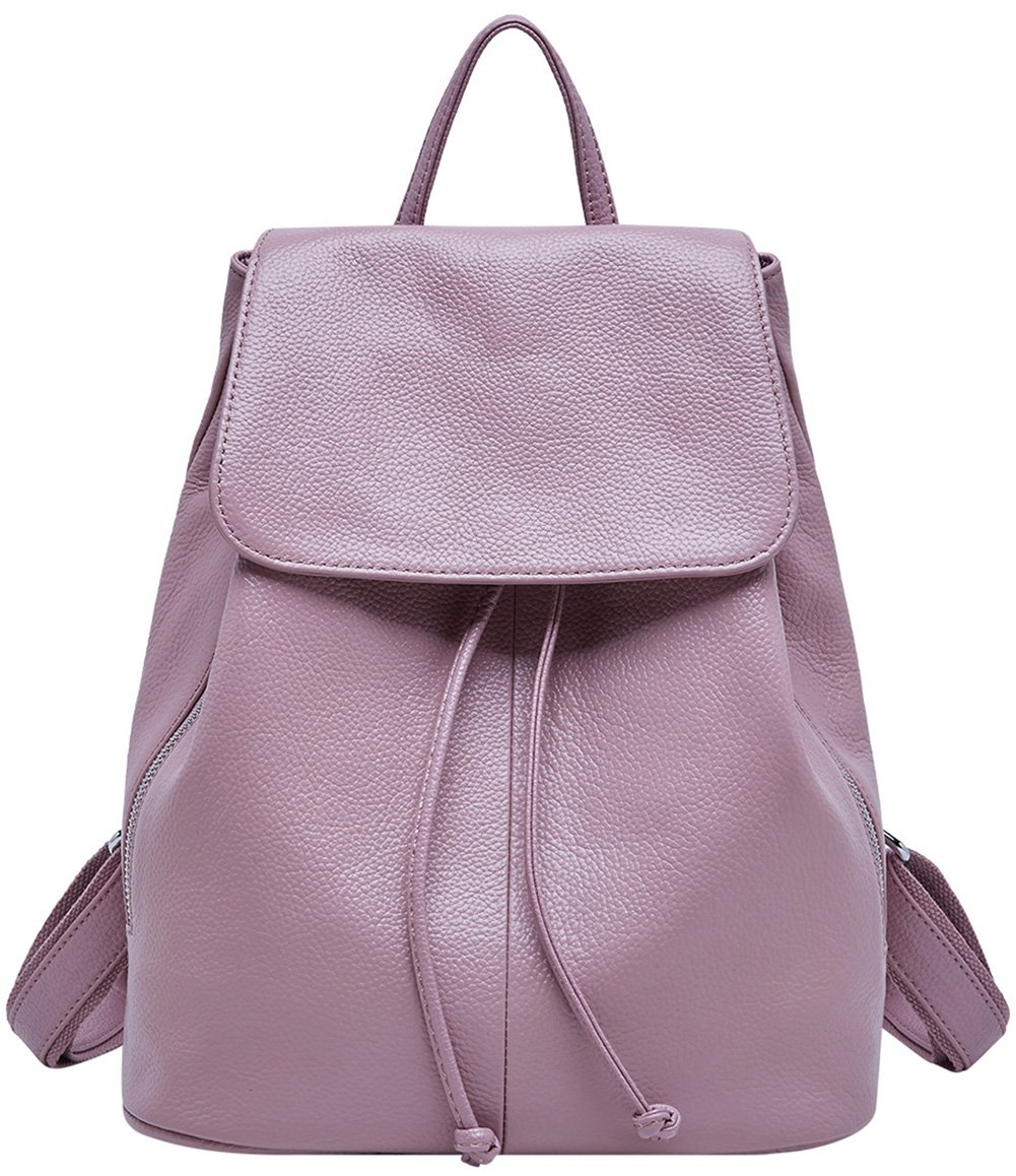 Genuine Leather Backpack for Women Elegant Ladies Travel School Shoulder Bag (Pink)