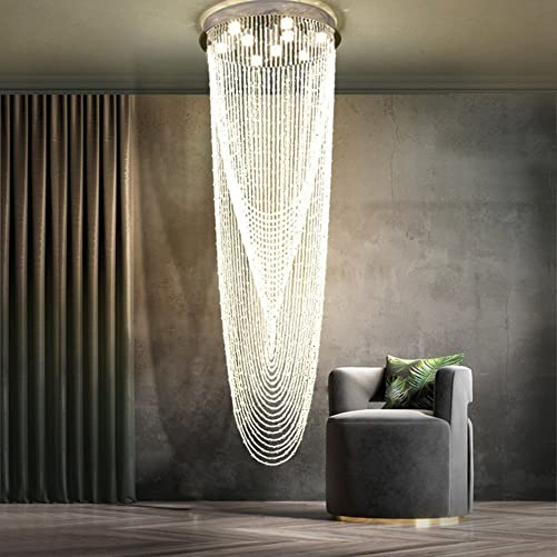 NOXARTE Luxury Contemporary Crystal Chandelier Linear Island Ceiling Light Glass Bead Crystal Waterfall Style Chandelier Lighting Fixture for Staircase Hall Dining Room D23.6 x H91