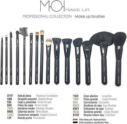Kit 15 pinceles y brochas para maquillaje profesional naturales y sintéticas M·O·I Professional Collection: Amazon.es: Belleza