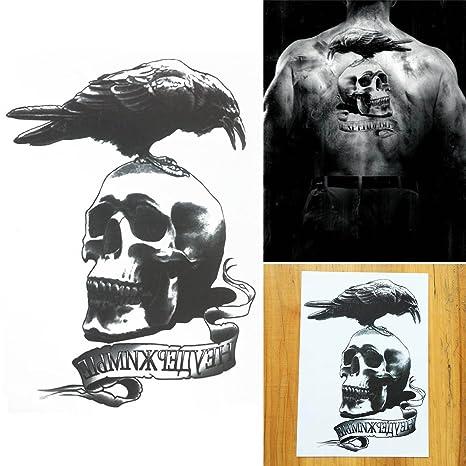 Cokohappy Temporary Tattoo Crow Raven On Skull Word Design Flash