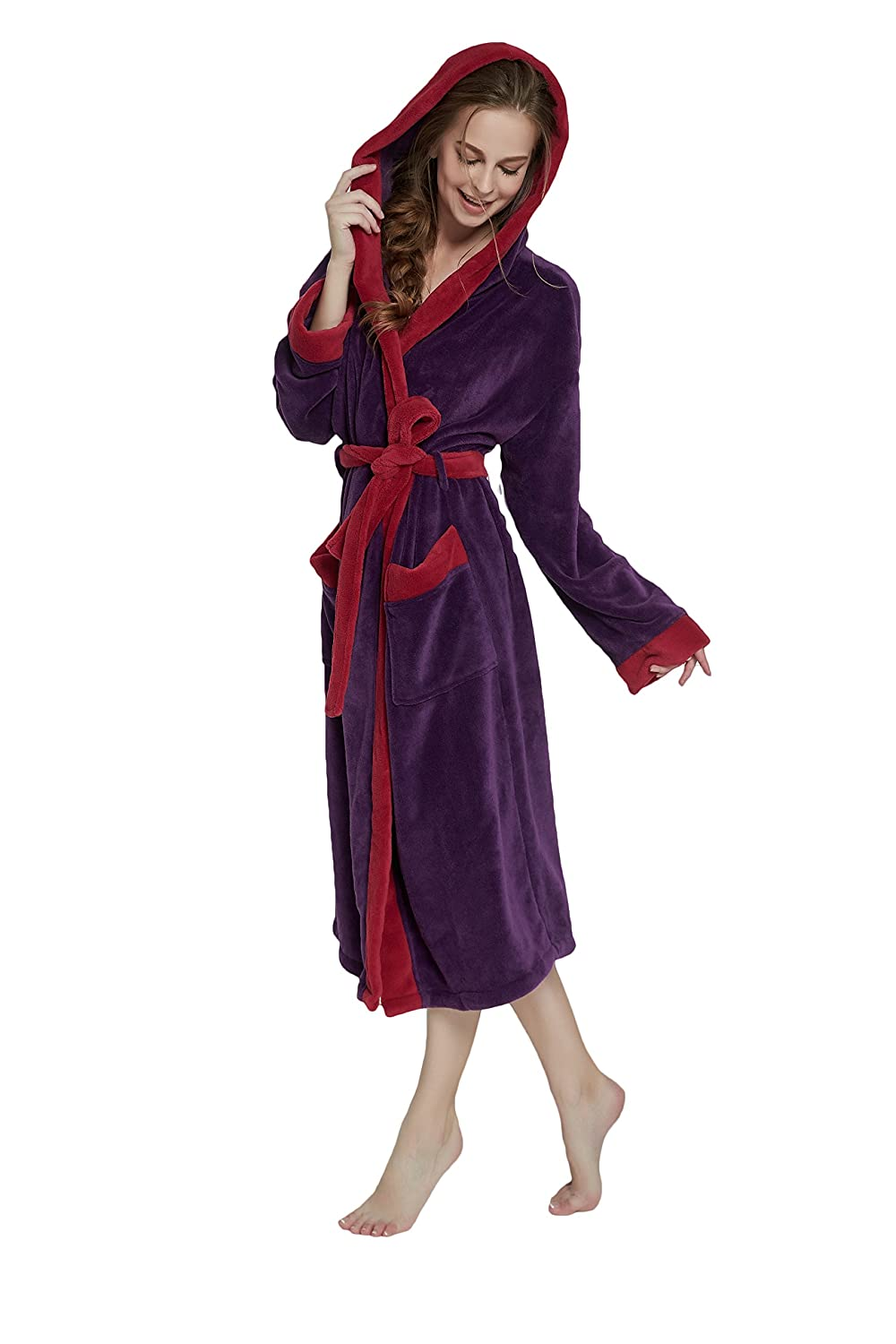OUFANG Hat Herringbone Women's Bathrobe in 2 Tone Soft Spa Kimono Shawl Collar Robe